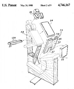 Patent drawing of the first massage chair